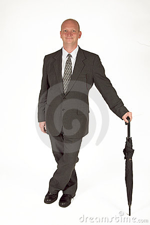 Dapper Businessman With Umbrella 01