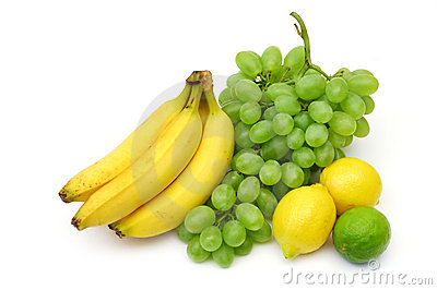 Yellow-green fruits still-life
