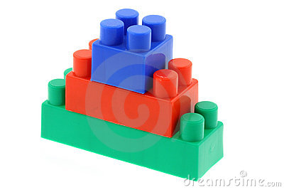 Tower of colorful building blocks - no trademarks