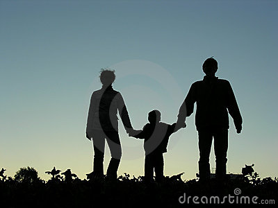 Family with boy silhouette