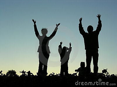 Family hands up silhouette