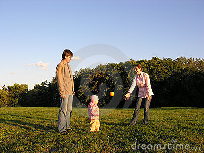 Family with baby play