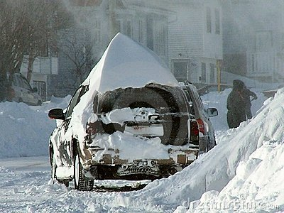 Buried in snow