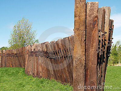 A wall from old railway crossties