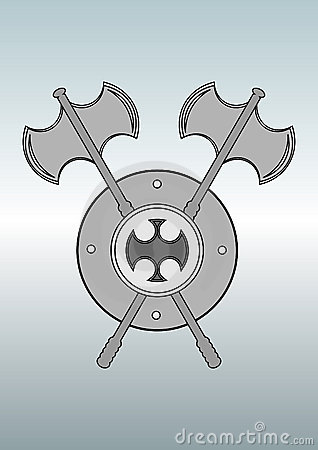 Battle axe and shield