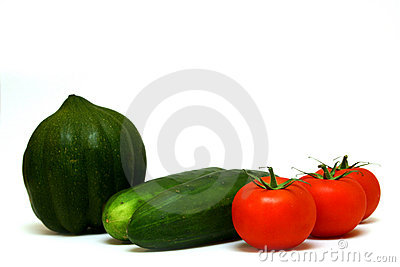 Squash, cucumbers and tomatoes