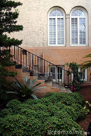 Staircase windows and garden in downtown Lakeland Florida