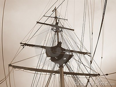 Ship rigging in sepia