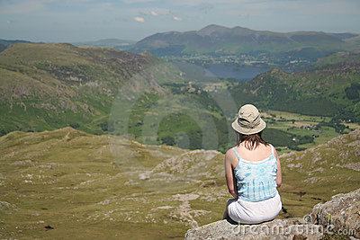 Woman at rest in Lake District,focus on woman