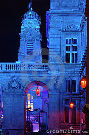 Lyon Town Hall  at night