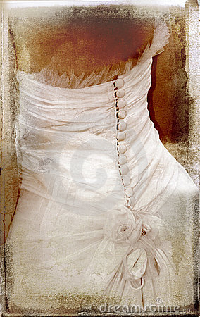 Vintage image of bride on textured background