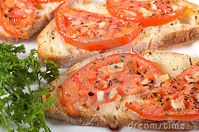 Bruschetta on white plate