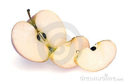Half Apple and Slices on White