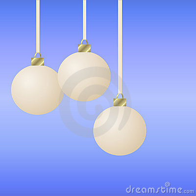 Three hanging white christmas ornaments