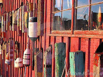 Lobster buoys on shack