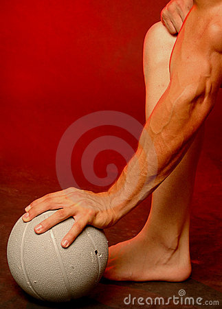 Man with sports ball