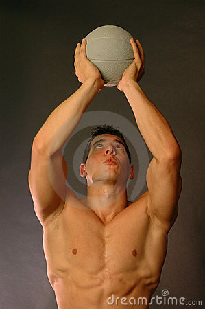 Male with workout ball