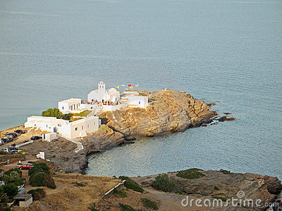 Dazzling-White Church Against the Aegean Deep-Blue