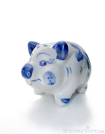 Blue porcelain pig