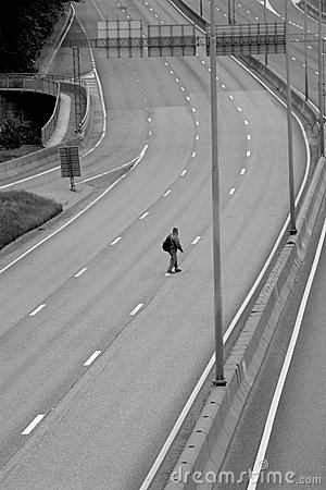 Man crossing the motorway