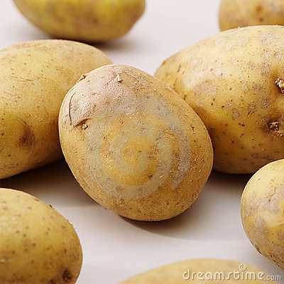 Potatos on whit