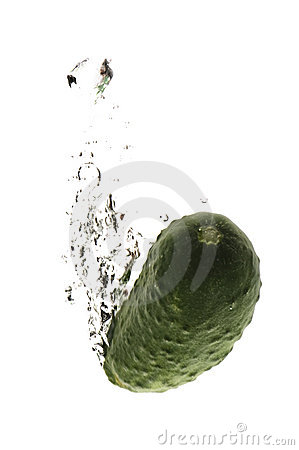 Cucumber in water macro on white