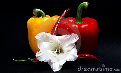 Paprika with peperoni and a flower