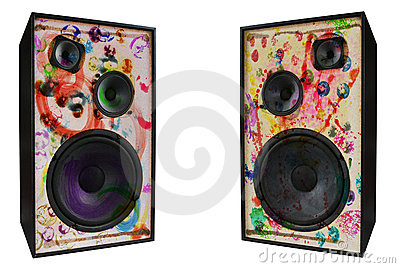 Colored vintage speakers,grungy