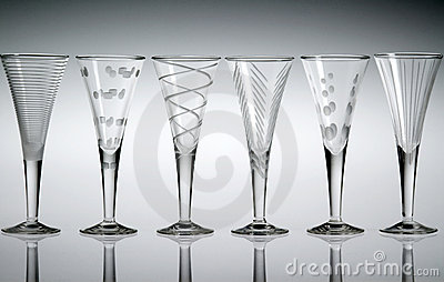Six crystal liqueur glasses