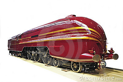 Red railway engine on a white background