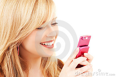 Happy teenage girl with cell phone