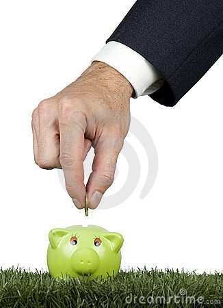 Businessman saving money