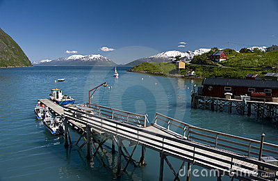 Fjord and fishing boat pier