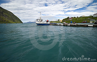 Norwegian fjord fishing wharf