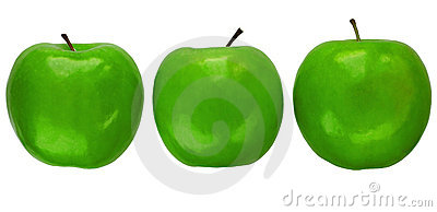 Three Granny Smith apples