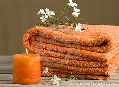 Orange towels with flowers