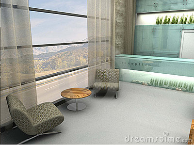 3D rendered lobby or waiting area