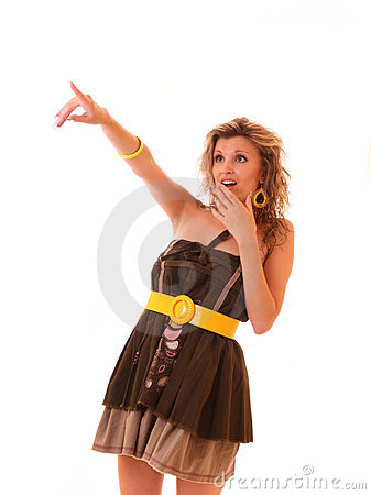 Young hot woman pointing somewhere