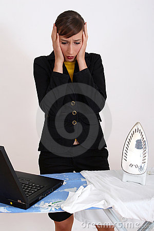 Business woman by housework
