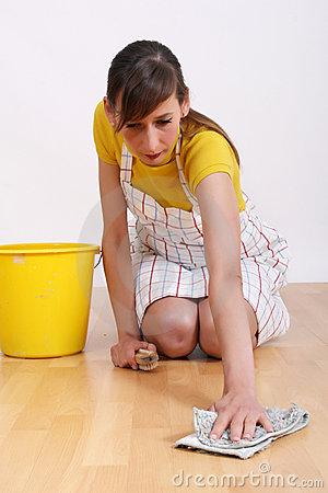 Woman cleaning floor