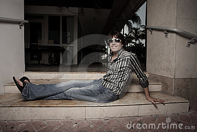 Man relaxing on steps