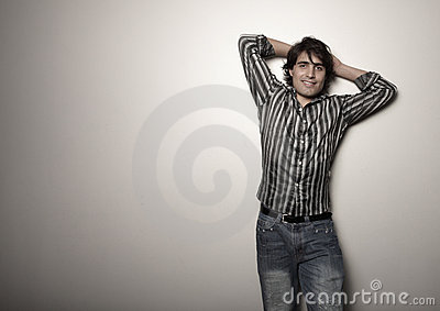 Man posing on a white background