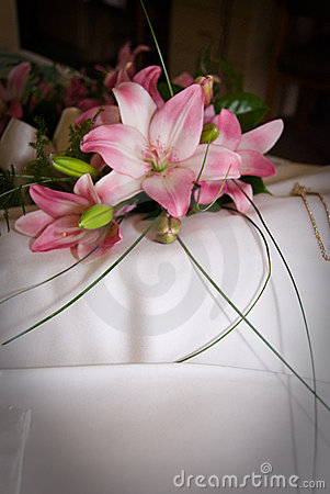 Flowers on a wedding dress