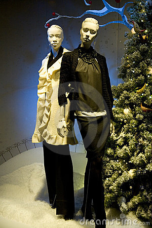 Mannequins In a Store Christmas Display