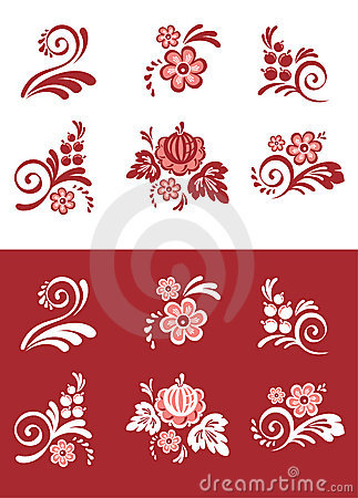 Set of floral element