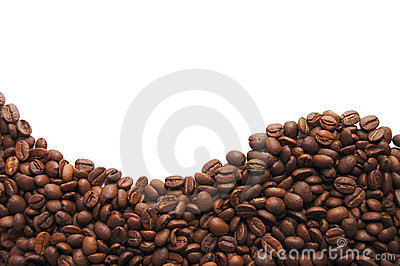 Aromatic coffee beans on white background