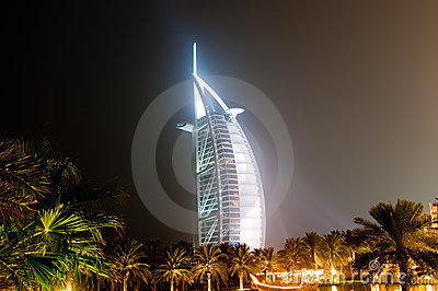 Burj Al Arab glowing at night
