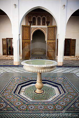 Morrocan mosaic floor and wooden door