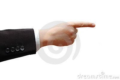 Pointing business man hand