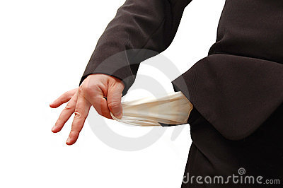 Business man with empty pocket in critical